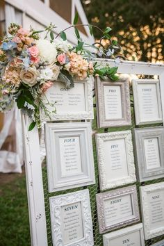 seating plans, frames and easels